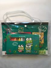 Vintage Sanrio Kero Keroppi 1992 Coloring Pad & Crayon Set In Carrying Bag