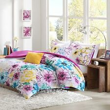 Floral Comforter Set FULL QUEEN Bed Flowers Girls Pink Bedding Teen Teal Blue