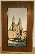 Antique santiago de compostela cathedral Oil Painting on canvas by Cortes 1920s