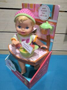Little Mommy Sweet Eats Baby Doll by Mattell 2011 Eating Peas Sippy Cup Spoon