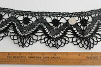 """Antique French Black Handmade Maltese Lace With Jet Beads~L-62"""" X W-3.5"""""""