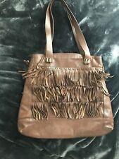 Oscar de la Renta Womens Magnet Top Double Strap Tote Handbag Brown Leather