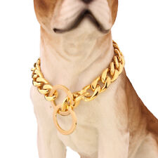 15mm Gold Stainless Steel NK Chain Dog Collar Necklace For Pit Bull Pet Choker