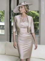 John Charles 26429 Silver Flattering Midi Wedding Occasion Formal Dress 10 38