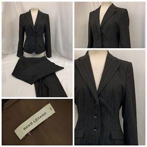 rene lezard Pant Suit sz 40 Brown Stripe Wool Lycra LNWOT YGI R1-839