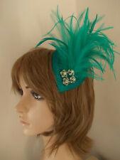 Jade Green sinamay tear drop fascinator feathers hair clip