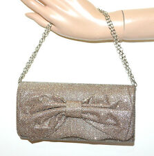 BOLSO CLUTCH bag mujer oro bronce rosáceo glitter elegante ceremonia fiesta G8
