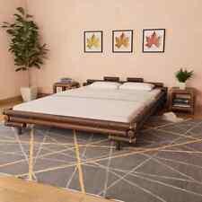 vidaXL Lit en Bambou 160x200 cm Marron Foncé Chambre à Coucher Lit Double