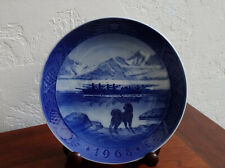 1968 Royal Copenhagen Christmas Plate ~ The Last Umiak ~ Inuit Row Boat