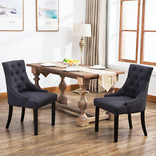 Set of 2 Curved Shape Tufted Fabric Upholstered Dining Accent Chair in Dark Grey