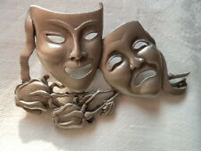 "JJ Vintage Signed  ""Silver pewter Comedy and Tragedy Masks"" Brooch/Pin"