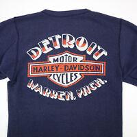 Destroyed Vtg 80s Harley Davidson Thermal Henely Shirt S Faded Detroit USA Made