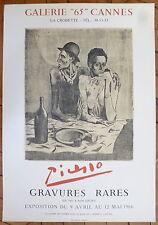 Picasso Pablo affiche Galerie 65 Cannes 1966 Rares Gravures déjeuner Frugal