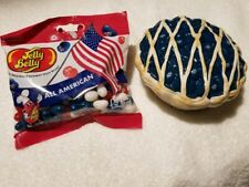 Jelly Belly Blueberry Pie Candy Dish with Lid and Jelly Beans! A+++Condition