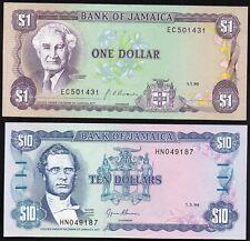 JAMAIQUE;JAMAICA;1 et 10 Dollars;1990-1994,NEUFS,UNC / Lot 149