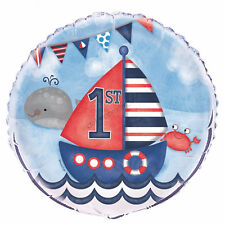 First 1st Birthday Party Decoration Nautical Boat Helium Air Foil Balloon Boy