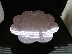 "Bordallo Pinheiro PORTUGAL Purple Lavender BUNNY Rabbit CAKE FOOTED SERVER 13"""