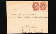 Germany Inflation Era Aschau Prien 1923 Joined Pair 500 Mark Cover 9u