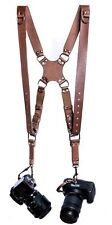 Leather Dual Camera Strap Harness Quick Release Brown Shoulder Adjustable Size