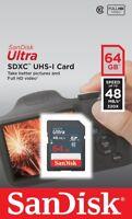 SanDisk Ultra 64 GB SDXC SDHC SD Class 10 48MB/s 320x UHS-I HD Flash Memory Card