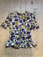 1940s Vintage Womens Rayon Purple Flower Peplum Belt Top Button Down