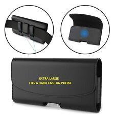EXTRA Large in Pelle Cintura Clip Case con passante per adattarsi Grandi XL telefoni Holder Pouch
