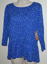 Ladies Cute Route 66 Blue Flower BABY DOLL TOP Dress Casual Blouse Shirt size L