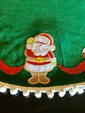 LeeWards Santa Snowman Candy Cane 42� Felt Appliqué Christmas Tree Skirt Pom Pom