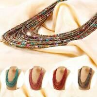 Women Fashion Jewelry Multi-Layer Seed Beads Choker Statement Chain Bib Necklace