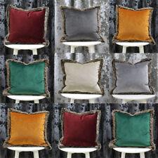 Riva Paoletti Cushion Cover Light Grey Faux Fur Edging 45cm H X 45cm W