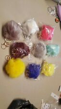 multi-colored rabbit fur key chains