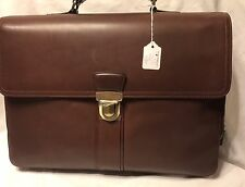 New Men's Leather Briefcase, Laptop Bag Brown SRP $470