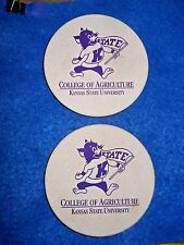"""ABSORBENT STONE COASTERS K - STATE COLLEGE WILD CATS 4"""" LOT OF 2"""