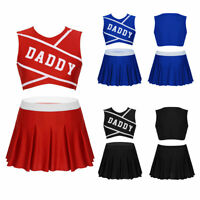 Womens Schoolgirl Uniforms Cosplay Costumes Outfits Mini Pleated Skirt Crop Tops