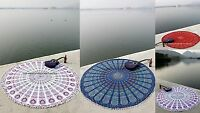 "Indian Mandala Round Pom Lace Tapestry 100%Cotton Throw Beach Yoga Mat 72"" Decor"