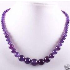 "6-14mm Lovely Amethyst Round Beads Gemstone Necklace 18"" JN137"