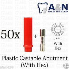 50 Plastic Castable Abutment With Screw Internal Hex3.75 For Dental Implant