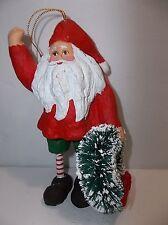 "Dept 56 Santa Figure 6"" Hand Painted Composite Bottle Brush Wreath"