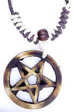 Exotic handmade hemp rope simulated bone star and circle necklace