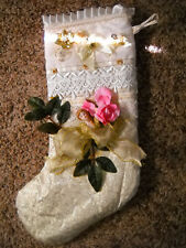 VINTAGE LARGE STOCKING GOLD/CREAM/ANGEL/FLORAL CHRISTMAS HOLIDAY FIREPLACE