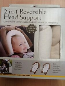 Eddie Bauer 2-in-1 Reversible Head Support. Ivory & Tan, 2 Pieces. NIB