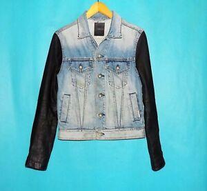 veste en jean DKNY en coton et manches cuir noir taille S