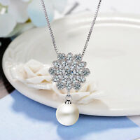 925 Sterling Silver Crystal Flower Pearl  Pendant Necklace For Fashion Women