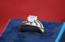 Natural Opal W.Blue & White Diamond 10k Solid Yellow Gold Engagement Ring