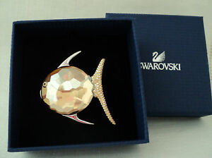 Signed Swarovski Rhodium Fish with faceted Golden Crystal Brooch Pin NEW
