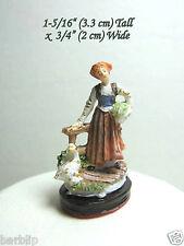 Dollhouse Miniature Fairy Garden Resin Woman with Geese Figurine