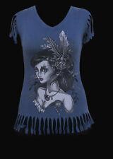 Medium Black Market Art Company Wind Hand Cut Vneck tee shirt womens pinup girl