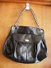 Large Liz Clairborne Shoulder Bag Chain Handle in Black Faux Leather Bag Depth 5