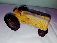 Rare yellow Vtg Hubley Tractor 1950s Farm Toy Vehicle Diecast Metal Rubber Tire