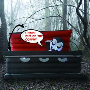 GOOSH 6FT Halloween Inflatable Outdoor Vampire in The Coffin Blow up Decoration